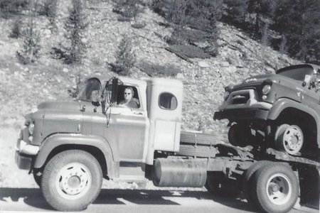 Mrs. Turner Driving 1950 moving truck black and white